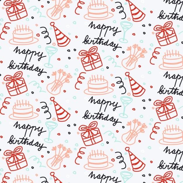 Hand Getrokken Verjaardag Wallpaper Vector Gratis Download