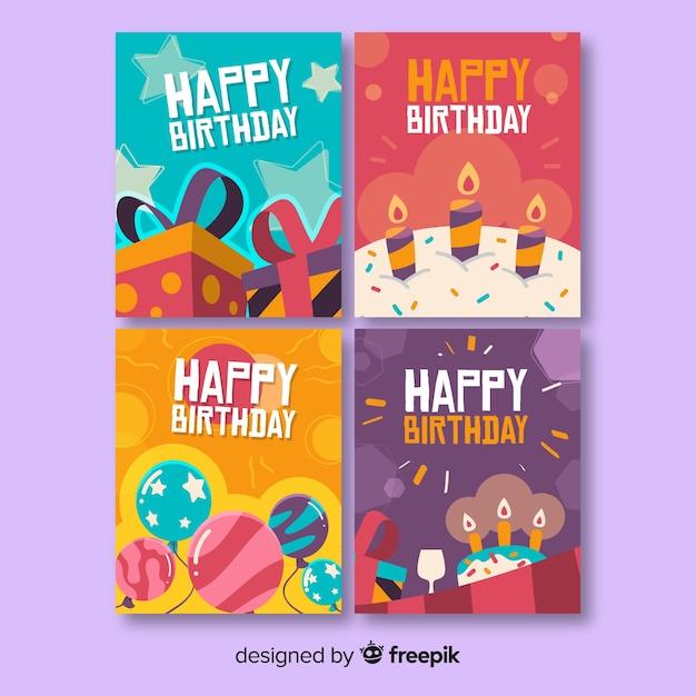Hand getrokken verjaardagskaart collectie Gratis Vector