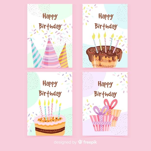 Hand getrokken verjaardagskaart pack Gratis Vector