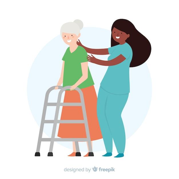 Hand getrokken verpleegster die geduldige achtergrond helpen Gratis Vector