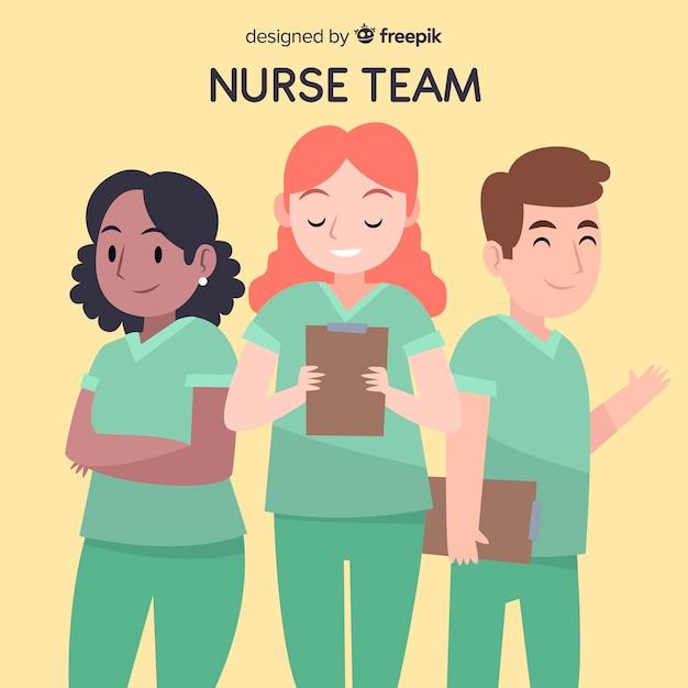 Hand getrokken verpleegster team achtergrond Gratis Vector