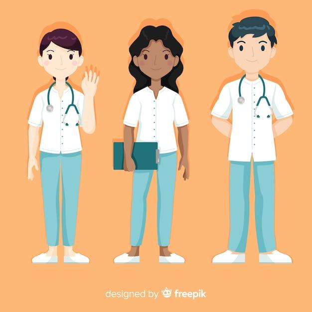 Hand getrokken verpleegster team-collectie Gratis Vector