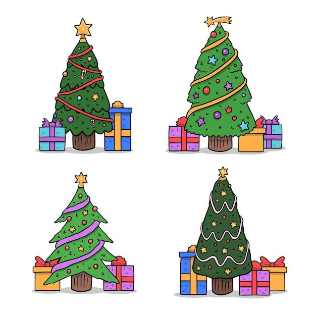 Hand getrokken versierde kerstbomen set Gratis Vector