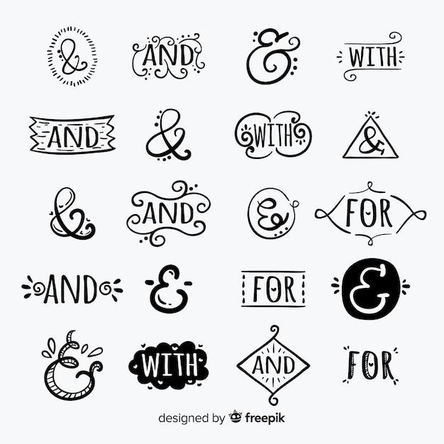 Hand getrokken verzameling trefwoorden voorzetsels: en, met, voor, aan Gratis Vector