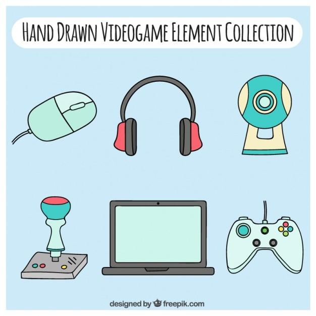 Hand getrokken video game accessoires Gratis Vector