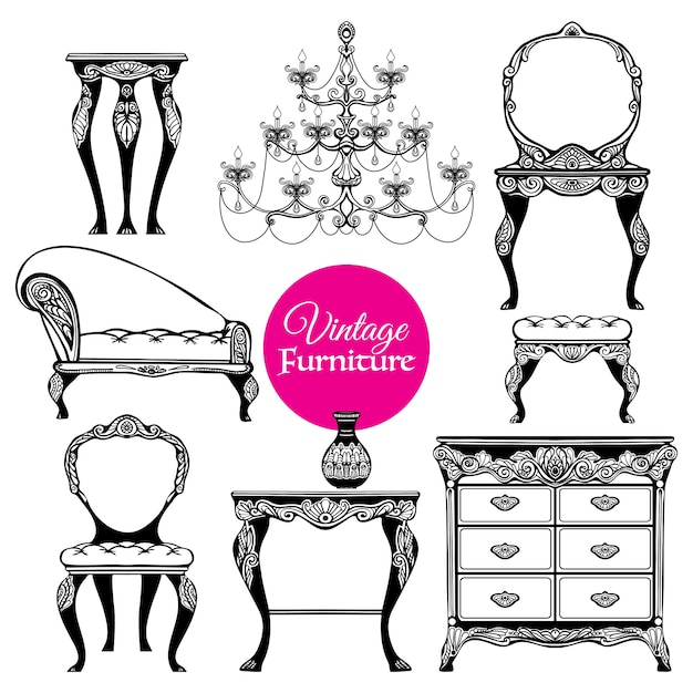 Hand getrokken vintage meubels stijlenset Gratis Vector