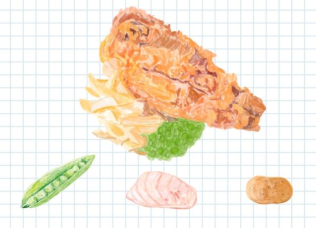 Hand getrokken vis en chips aquarel stijl Gratis Vector