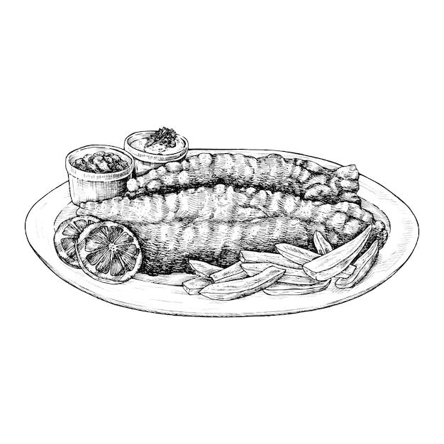 Hand getrokken vis met patat Premium Vector