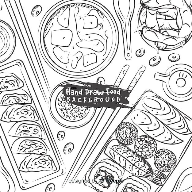 Hand getrokken voedsel achtergrond Gratis Vector