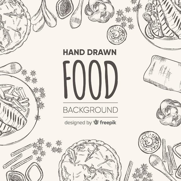 Hand getrokken voedsel achtergrond Premium Vector