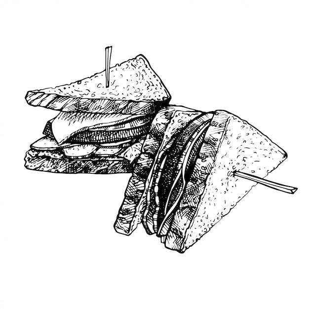 Hand getrokken voedsel schets van sandwich, geroosterde broodjes. Premium Vector