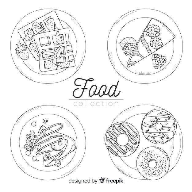 Hand getrokken voedsel schotel-collectie Gratis Vector