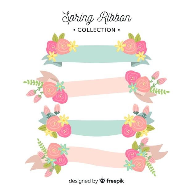 Hand getrokken voorjaar lint collectie Gratis Vector