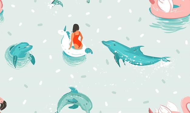 Hand getrokken voorraad abstracte schattig zomertijd cartoon illustraties naadloze patroon met eenhoorn rubberen ring en dolfijnen in blauwe oceaan water achtergrond. Premium Vector