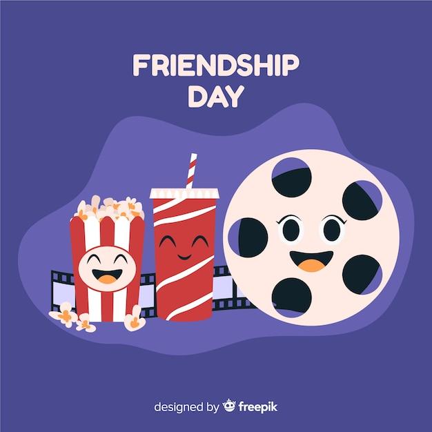 Hand getrokken vriendschap dag achtergrond Gratis Vector