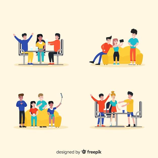 Hand getrokken vriendschap dag illustraties Gratis Vector