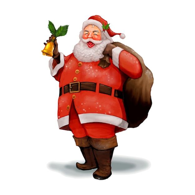 Hand getrokken vrolijke santa claus met een presenteert zak Gratis Vector