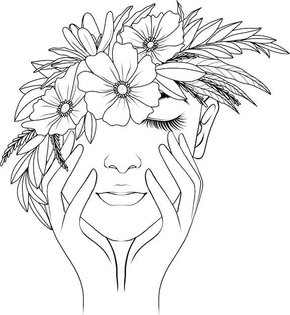 Hand getrokken vrouw en bloemen Premium Vector