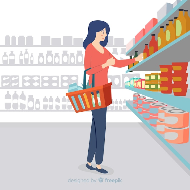 Hand getrokken vrouw in de supermarkt Gratis Vector