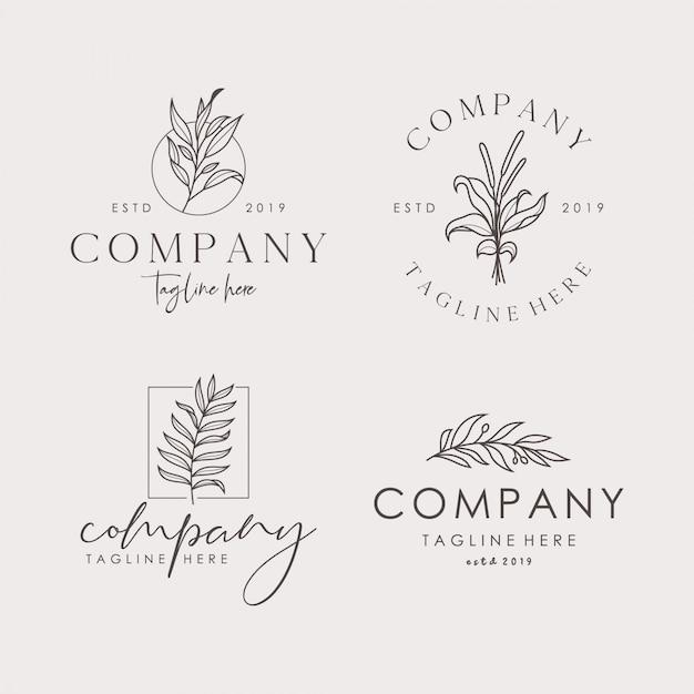 Hand getrokken vrouwelijke floral vector tekenen of logo templates set Premium Vector