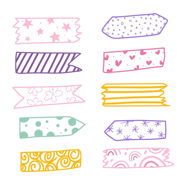 Hand getrokken washi tape-collectie Gratis Vector