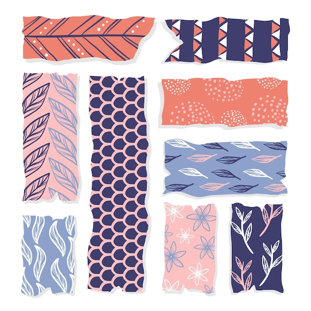 Hand getrokken washi tape-collectie Gratis Vector