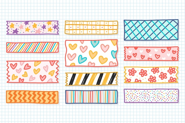 Hand getrokken washi tape set Premium Vector
