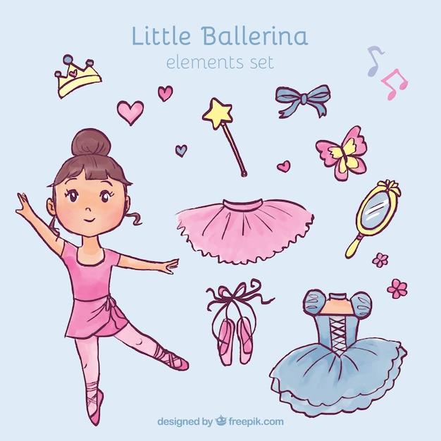 Hand getrokken weinig ballerina met haar elementen Gratis Vector
