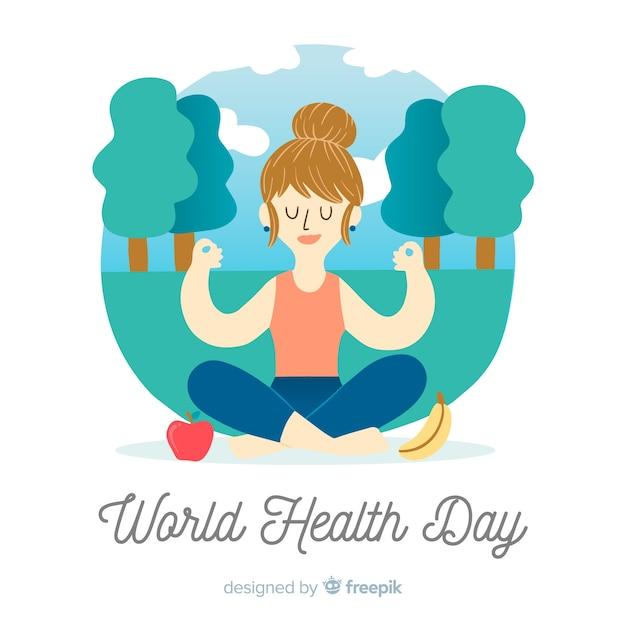 Hand getrokken wereld dag van de gezondheid achtergrond Gratis Vector