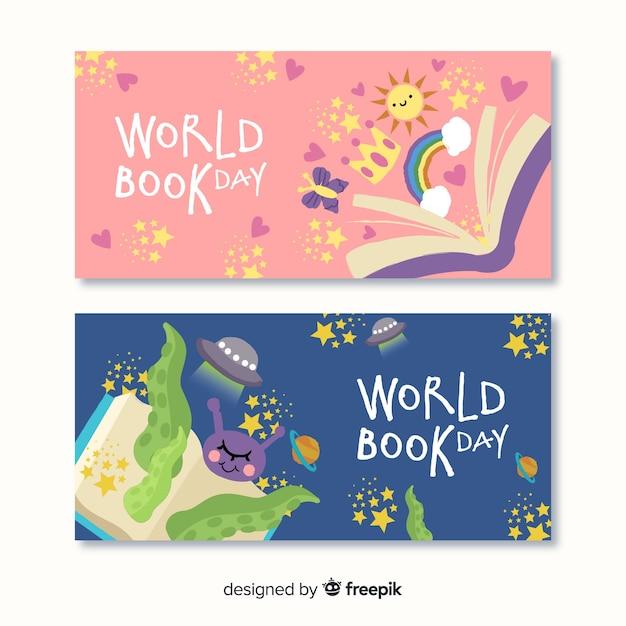 Hand getrokken wereld dagboek banners Gratis Vector