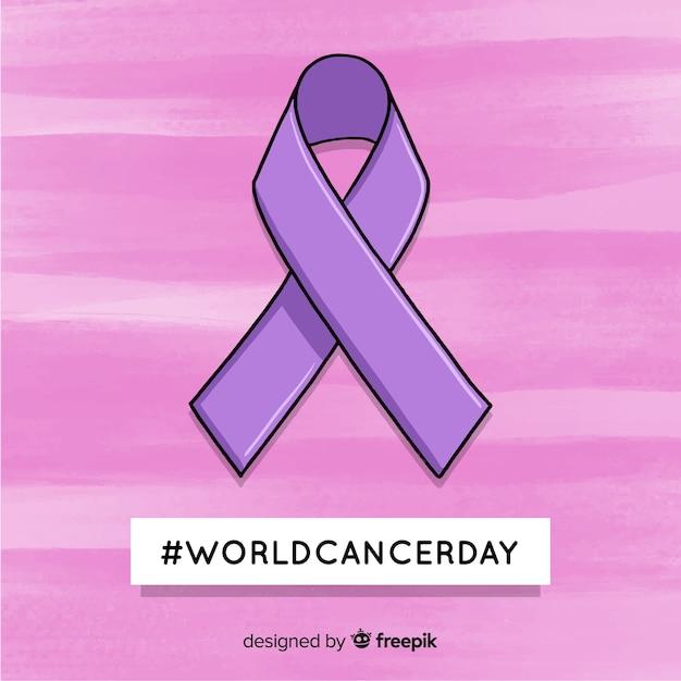 Hand getrokken wereld kanker dag achtergrond Gratis Vector