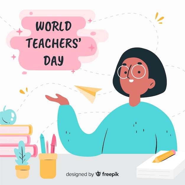 Hand getrokken wereld lerarendag Gratis Vector