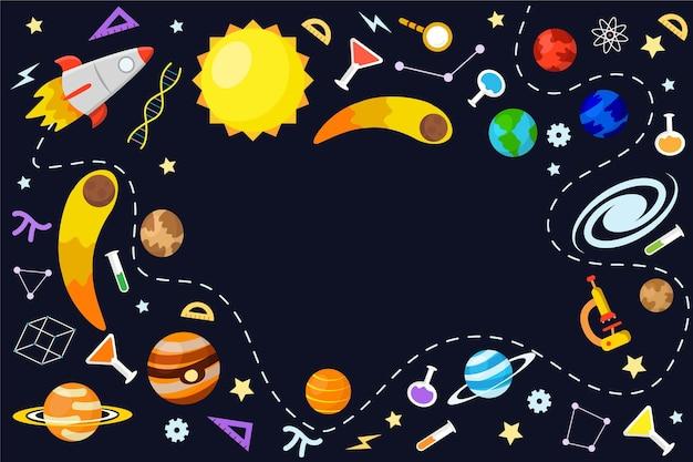 Hand getrokken wetenschap behang met elementen-collectie Gratis Vector
