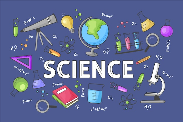 Hand getrokken wetenschappelijk onderwijs achtergrond Gratis Vector