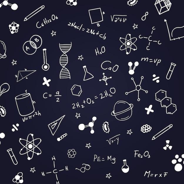 Hand getrokken wetenschappelijke formules op schoolbord Gratis Vector