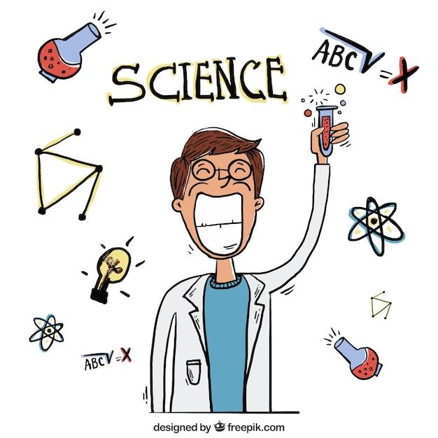 Hand getrokken wetenschapper met een reageerbuis Gratis Vector