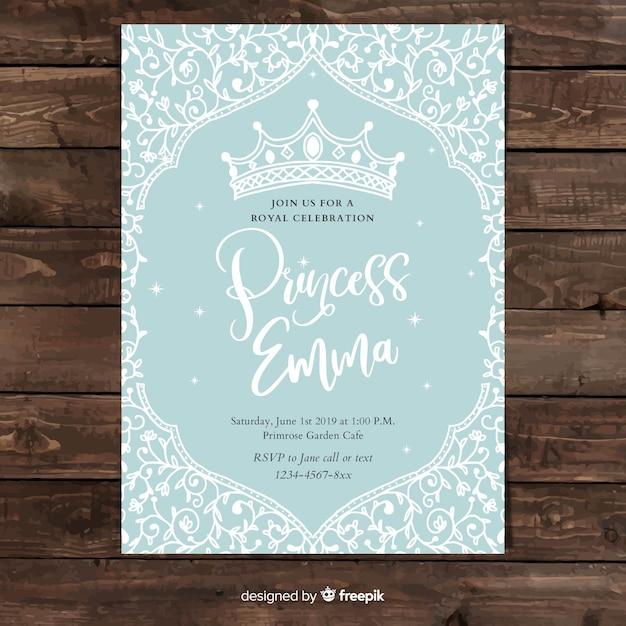 Hand getrokken wijnstok prinses partij uitnodiging sjabloon Gratis Vector