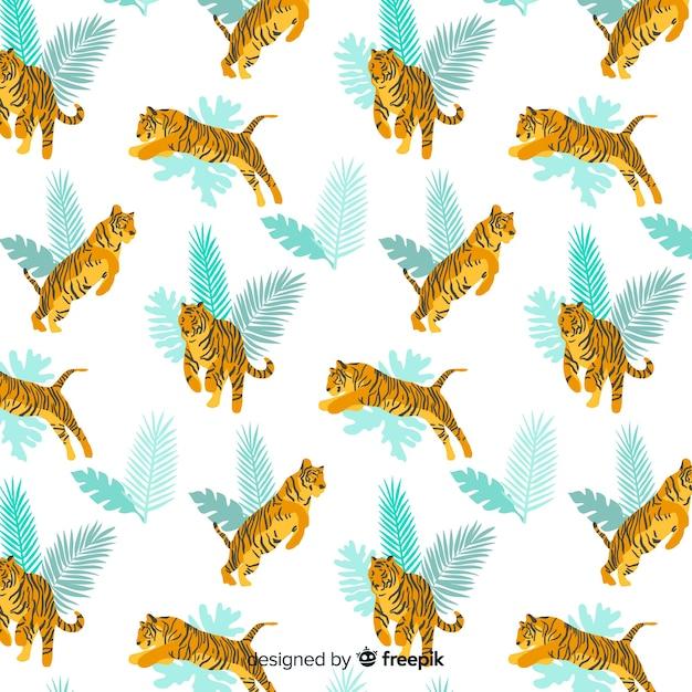 Hand getrokken wilde tijger patroon Gratis Vector