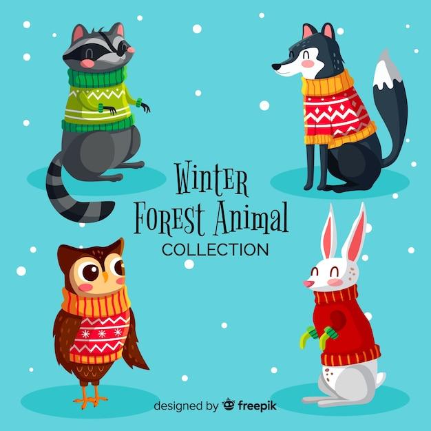 Hand getrokken winter bos dierlijke collectie Gratis Vector