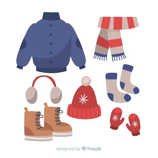 Hand getrokken winter outfit Gratis Vector