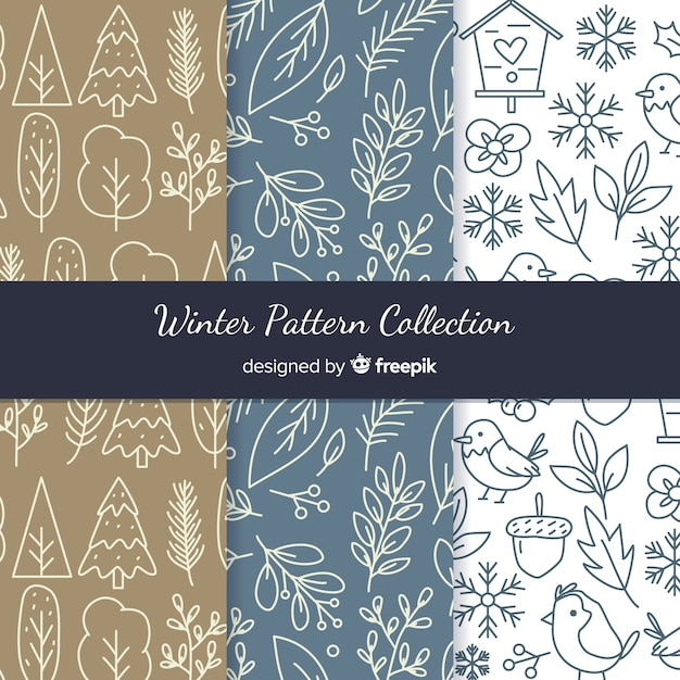 Hand getrokken winter patroon collectie Gratis Vector