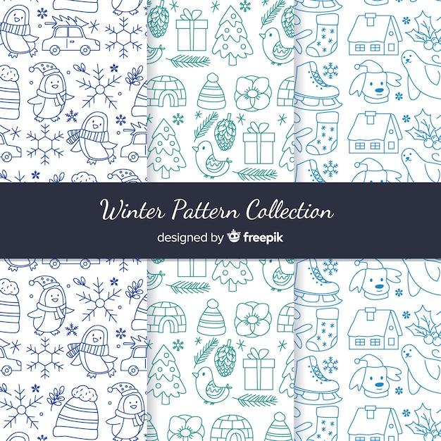 Hand getrokken winter patroon collectie Gratis Vector