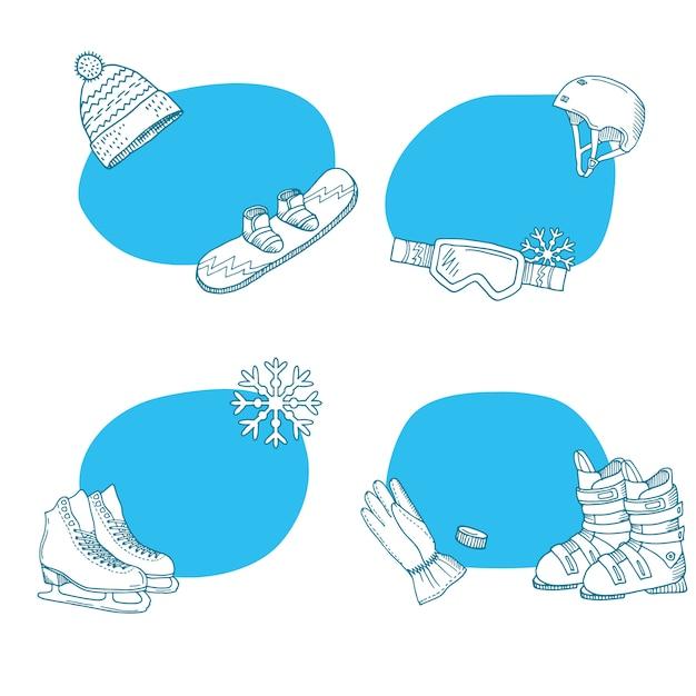 Hand getrokken wintersportuitrusting stickers collectie Premium Vector