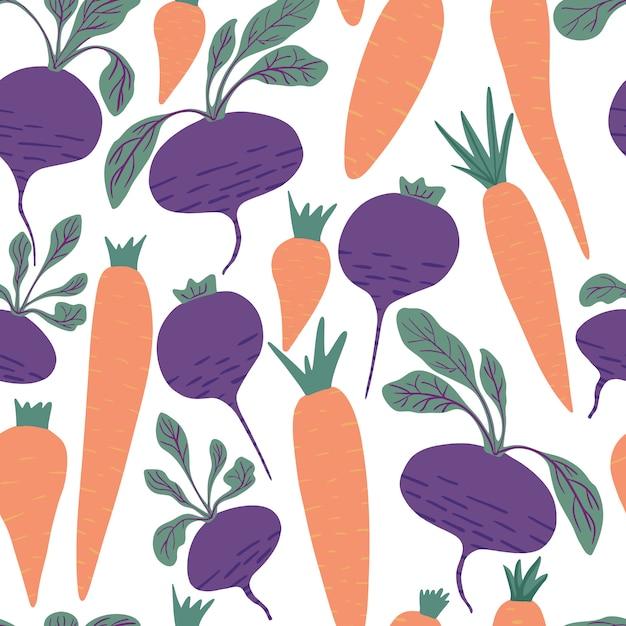 Hand getrokken wortel en bieten naadloos patroon op witte achtergrond. Premium Vector