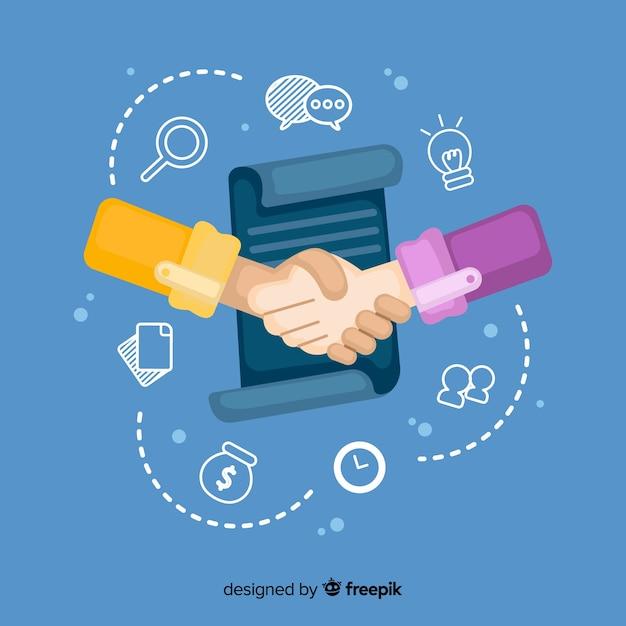 Hand getrokken zakelijke deal concept Premium Vector