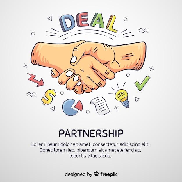 Hand getrokken zakelijke deal concept Gratis Vector