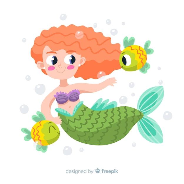 Hand getrokken zeemeermin met krullend haar omgeven door vis Gratis Vector