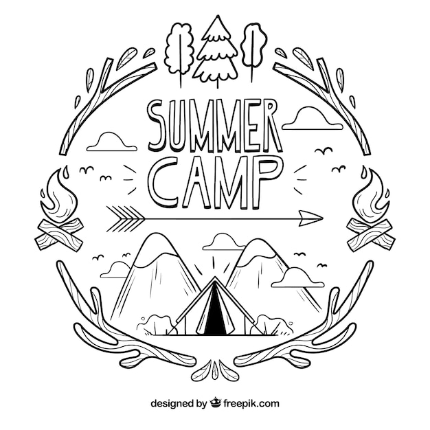 Hand getrokken zomer kamp achtergrond Gratis Vector