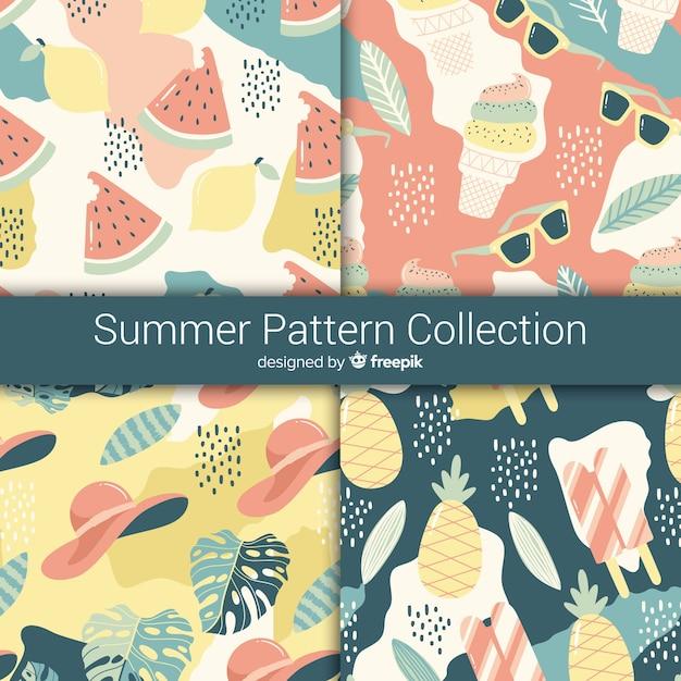 Hand getrokken zomer patroon collectie Gratis Vector