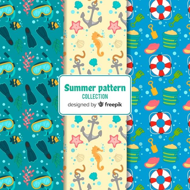Hand getrokken zomer patroon pack Gratis Vector